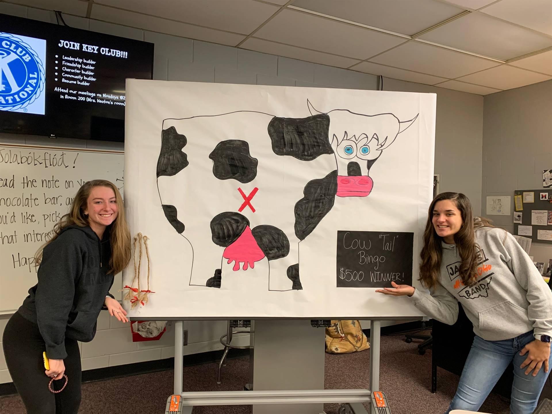 Ali and Abba preparing for Cow Tale Bingo
