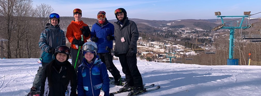 MVHS Ski Club on top of summit at Holiday Vallley Resort, New York.