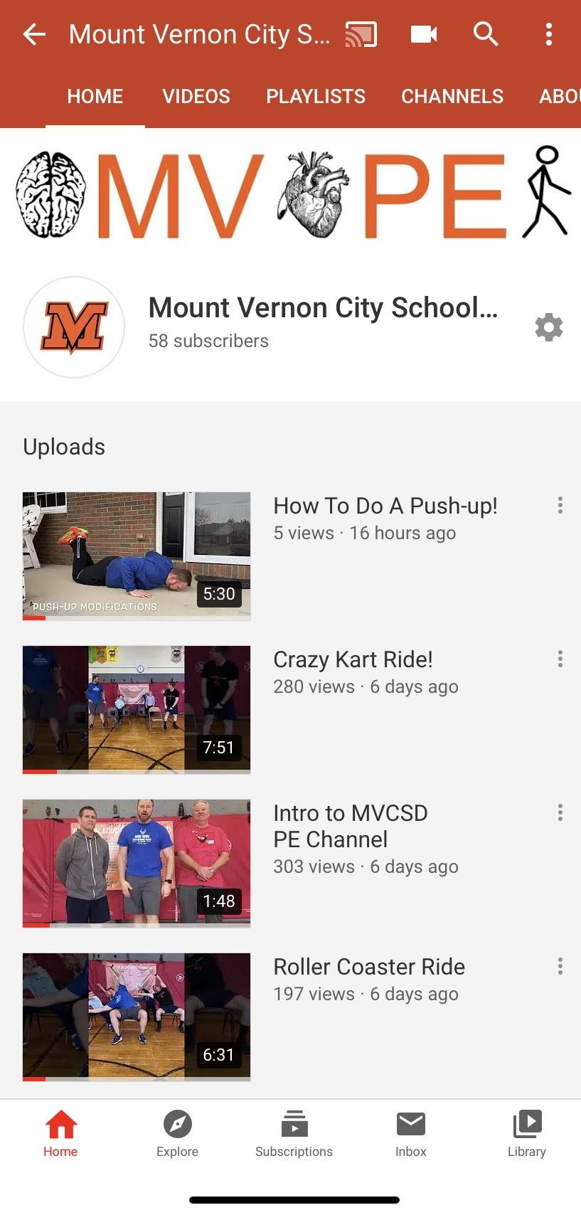 photo of PE youtube page