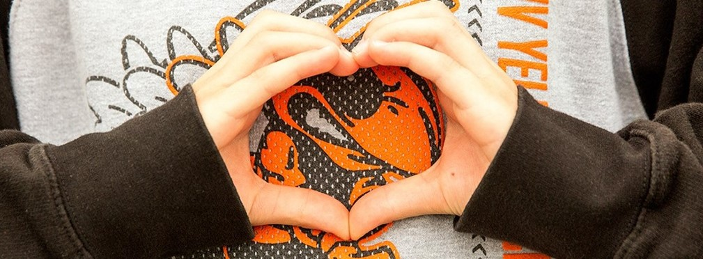 Hands in the shape of a heart over a Mount Vernon jersey.