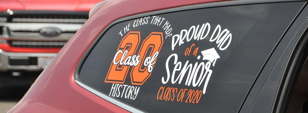 Car decorated for graduation.