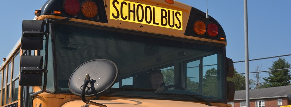 School bus on route to pick up students.