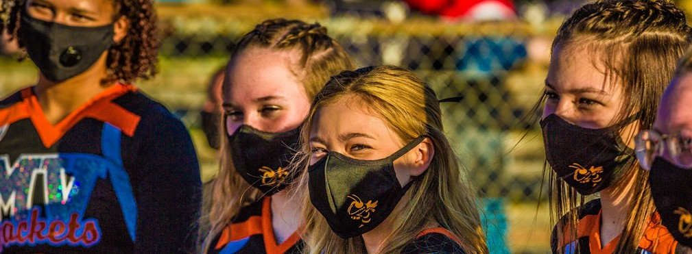 MV Cheerleaders masked up on the sidelines before the Ashland game.