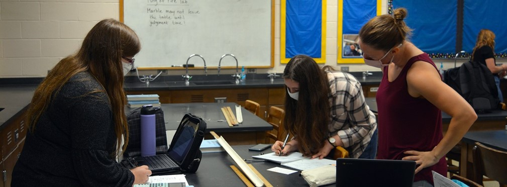 Students working on the Ring of Fire lab in Physics class.