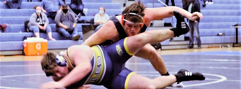 Jacket heavyweight Nate Stradley takes down his Lancaster opponent.