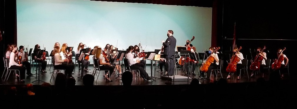 MVHS orchestra performing on stage during their spring concert.