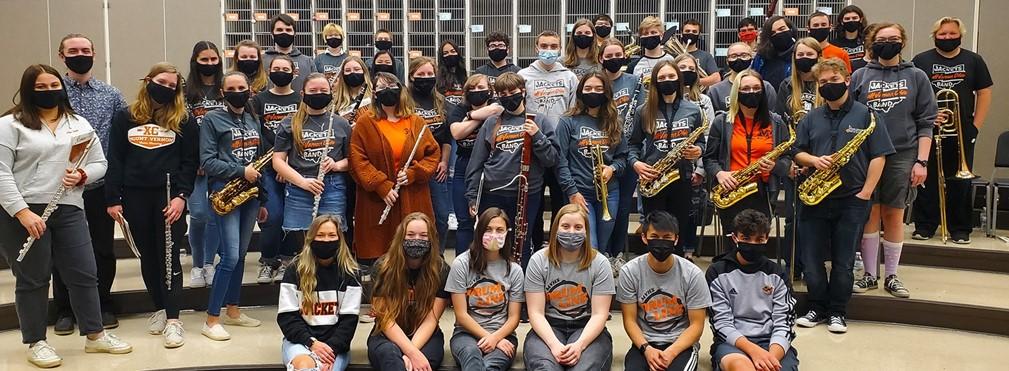 High School Band members in the practice room.
