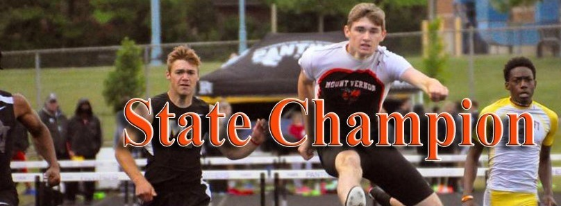 Erich Rhodeback clearing the last hurdle to win the Division I 300 meter State Championship.