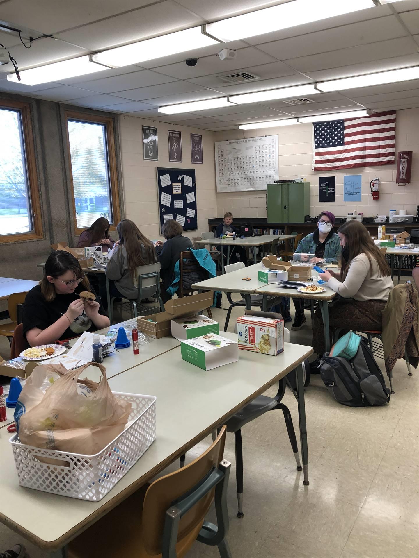 students building robots