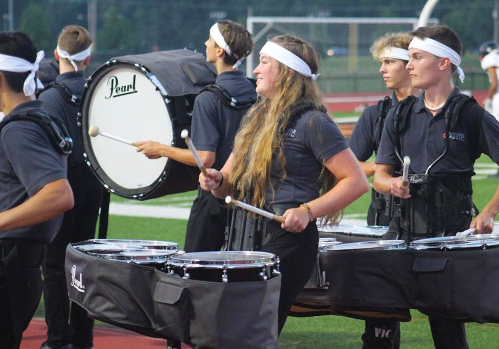 High School Drumline performing in front of the HIVE.