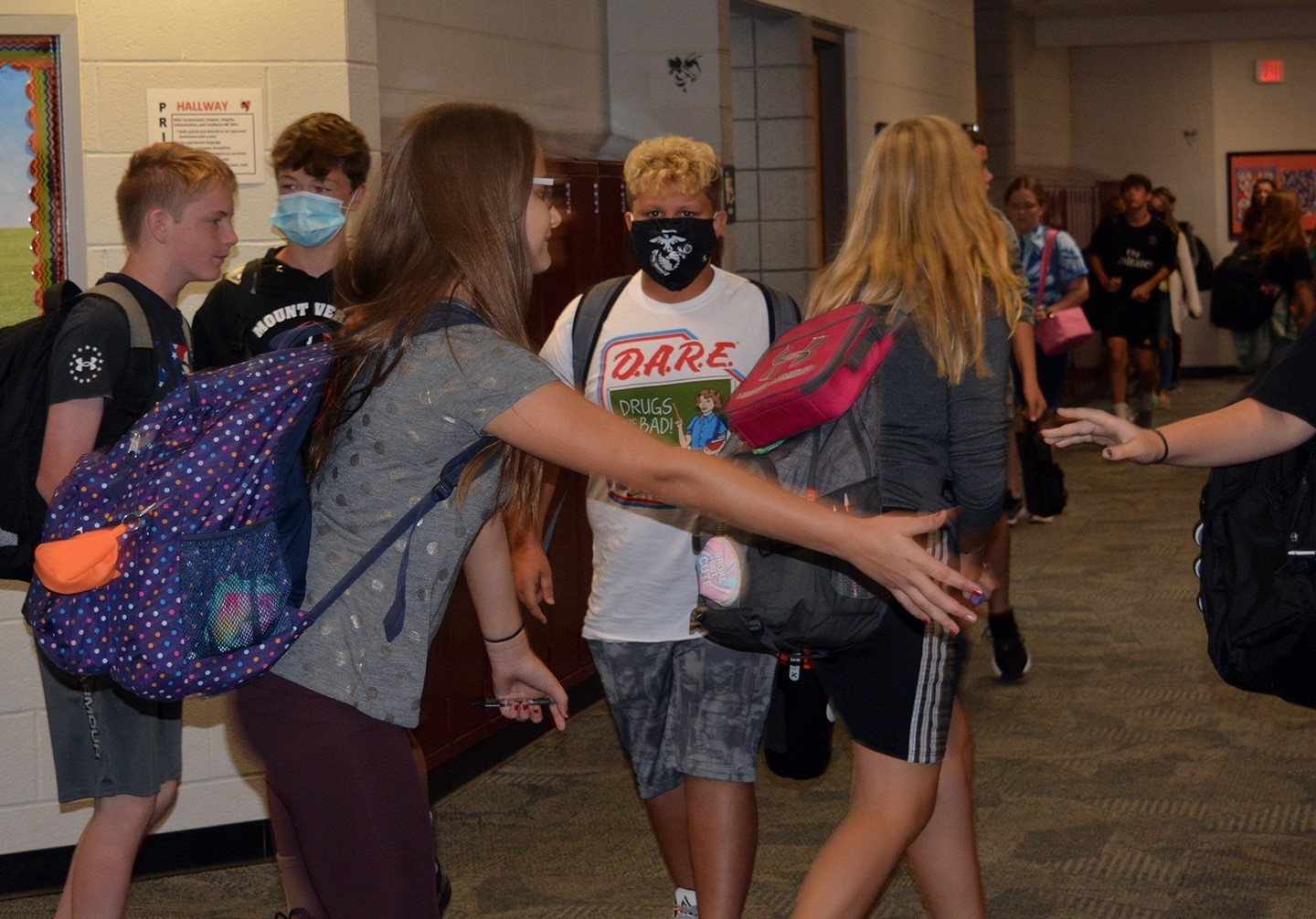 Students changing classes in the Middle School hallway.