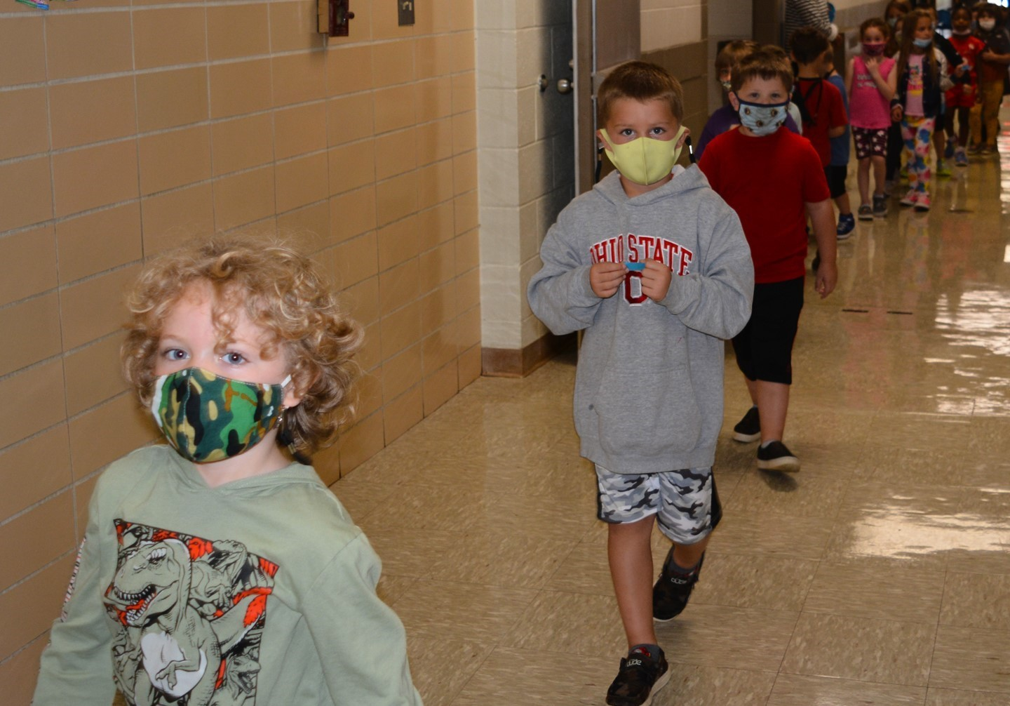 Students changing classes in the hallway.