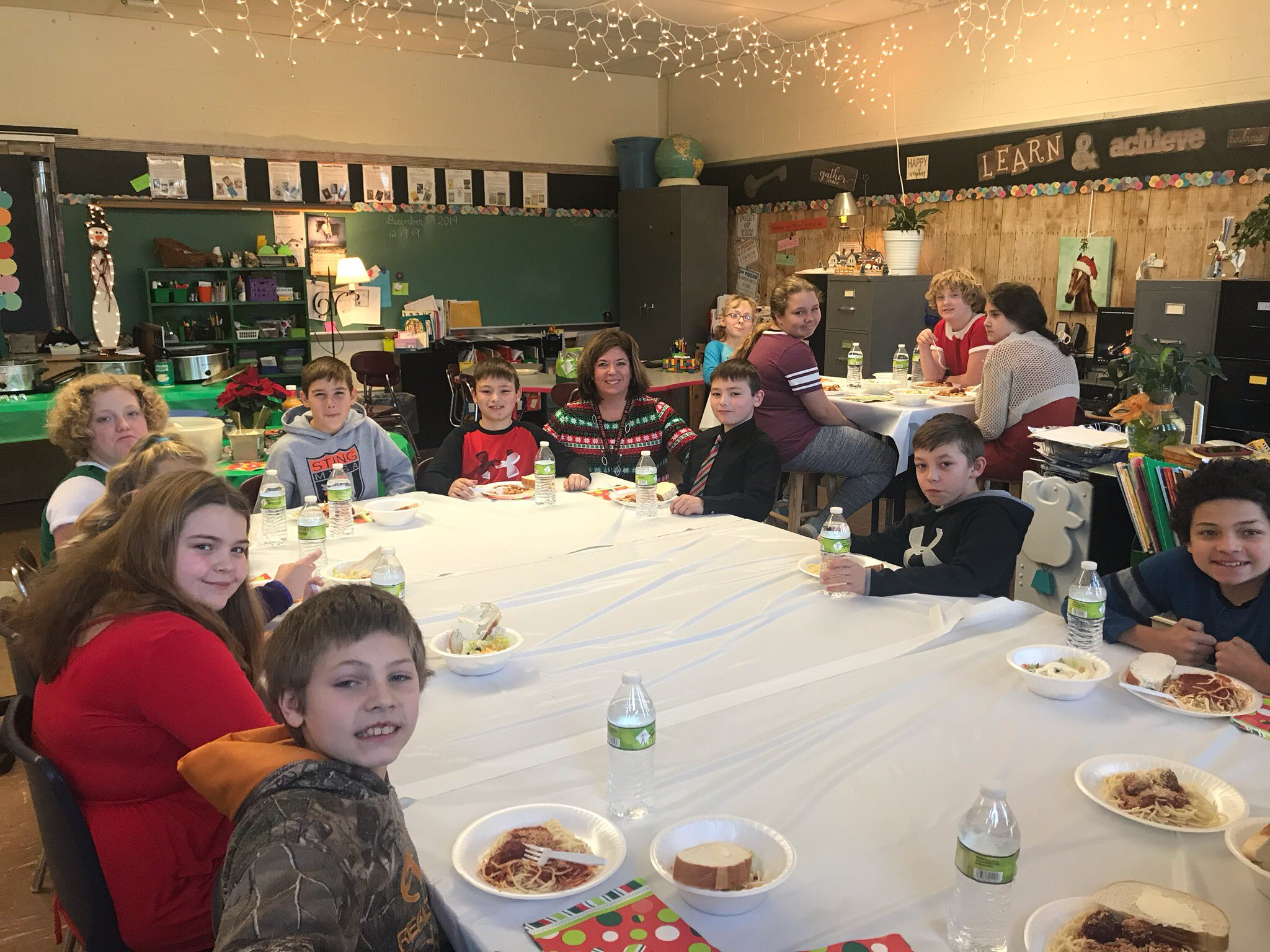 Pleasant Street students and teachers having dinner at the school.
