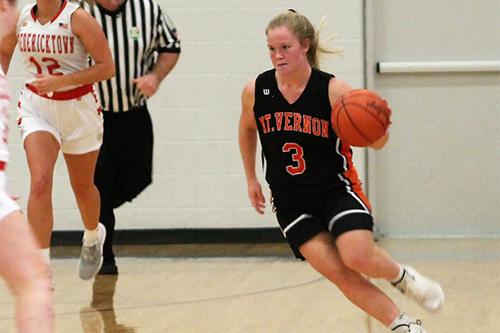 Girls basketball player dribbling the ball.