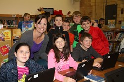 Mrs. Stetler with fifth grade students