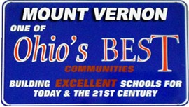 Sign stating Mount Vernon one of Ohio's Best Communities.