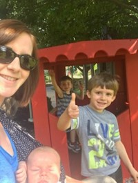 Mrs. Farr with her three sons enjoying time at the park!