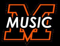 MV black and orange logo with MUSIC