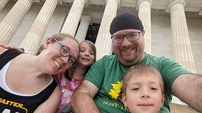 Mr. Peyton and his family on the steps of the Lincoln Memorial